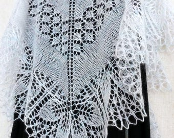 White lace shawl Mohair knitted wrap Hand knit scarf Openwork wrap Boho shawl Bridal cover up Hand knitting Wedding shawl White wedding
