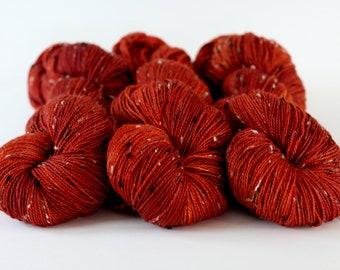 "Tweedy Sock Yarn, fingering,donegal tweed, ""Burnt Orange"", SW merino, super soft sock"