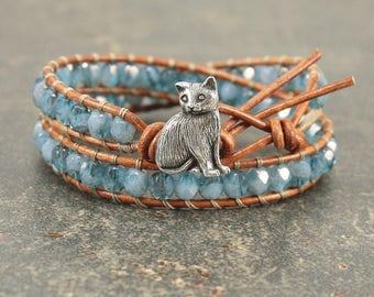 Cat Bracelet Silver Blue Turquoise Cat Jewelry Double Leather Wrap Bracelet