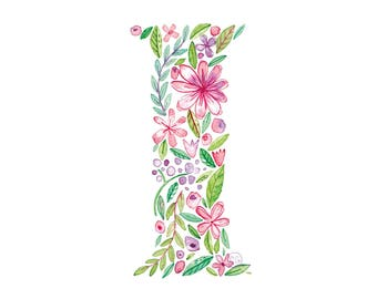 I Uppercase i | Letter, typographic, alphabet. Wall art, print, gift, watercolour, floral