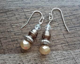 Handmade Dangle Drop Cream with Brown Accent Bead Earrings