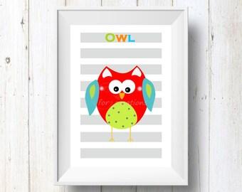 Nursery wall decor, Little owl print children wall art, printable art , wall hanging