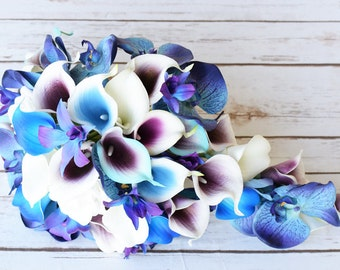 Wedding Picasso Purple Blue and Turquoise Bride Cascade Teardrop Bouquet - Calla Lilies and Orchids