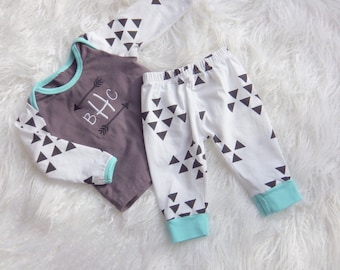 Baby Boy Coming Home Outfit. Monogram Shirt with Arrows, Soft Knit Pants. Newborn Coming Home. Baby Boy Going Home. Baby Tribal Outfit