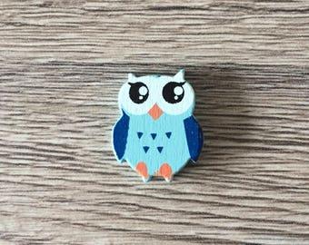 OWL pattern wooden bead - blue