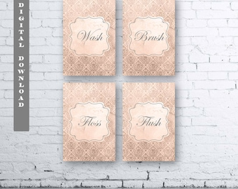 French Damask Bathroom Prints Set Of Four (4).Instant Download. Wash