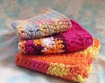 Crochet Washcloth SET of 3, Handmade and Colorful!