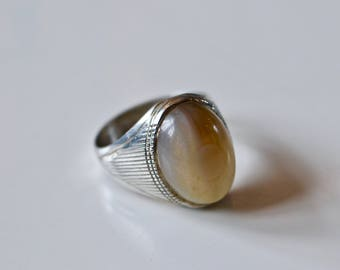 Vintage Sterling Silver Ring with Rutilated Quartz Cabochon