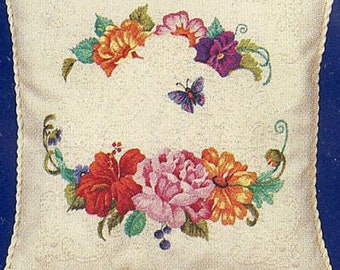 Bucilla Stamped Crewel Embroidery with Candlewicking Butterfly Floral Pillow