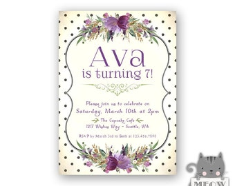 Purple Florals 7th Birthday Invitations for Girls / Black and White Polka Dots / Girl's 7th Birthday / 8th Birthday/ 9th Birthday 54a