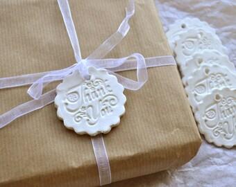 Anmutige danke Geschenkanhänger, weiße Etiketten, Hochzeitsgeschenke, danke danke Ton Etiketten, danke Tags, reich verzierten, weiße Etiketten