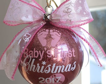 "Baby's First Christmas Ornament personalized with any year and baby's name. 4"" Acrylic or Glass ornament made with Vinyl decals"