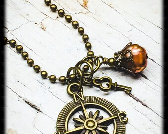 Compass Necklace-Brass Compass Necklace-Compass Charm Necklace-Compass Pendant-Graduation Gift-Gifts For Travel-Compass Jewelry-Gift For Her