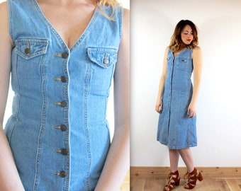 Vintage 90's Denim Button Down Sun Dress