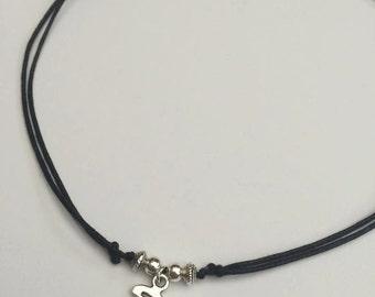 Hollow Moon Necklace, Moon Choker, Adjustable Cord Necklace, Grunge Choker, Celestial Choker Necklace, Moon Charm Choker, Silver Boho Moon