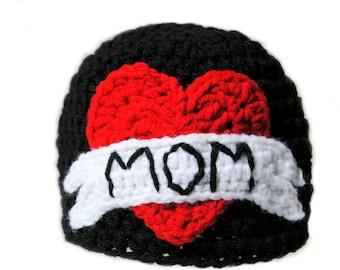 MOM Tattoo Crochet Hat, Mothers Day Hat, Punk Rock Baby, Baby Boy Knit Hat, Newborn Photo Prop, Toddler Boys, Infant Boys Heart Hat, Crochet
