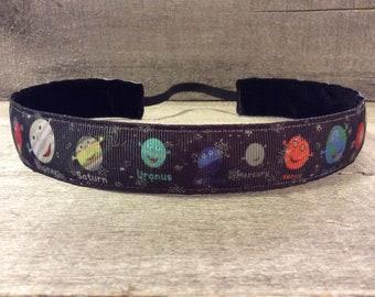 Solar System Nonslip Headband,  Noslip Headband, Workout Headband, Sports Headband, Running Headband, Athletic Headband