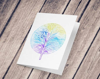 Wish card: Illustration reproduction painted with watercolor, Tree