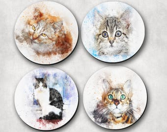 Coasters, Cats, Kittens, Watercolour, Watercolor, Pet Love Gift (0069)