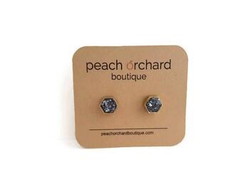 Brass Framed Oceanic Blue Glass Glitter Hexi earrings  Bridal Jewelry  Blue Studs  Hexagon posts