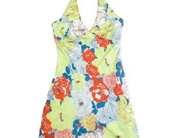 Vintage neon pastel floral print  Halter Dress