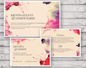 Watercolour Wedding Invitation Suite - Print at Home Files or Printed Invitations - Splashed In Watercolor Personalised Wedding Invite Suite