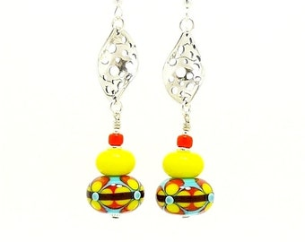 Southwestern Earrings, Bright Earrings, Lampwork Earrings, Glass Bead Earrings, Dangle Earrings, Glass Bead Earrings, Colorful Earrings