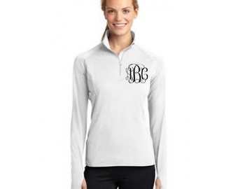 Sparkly Monogram 1/2 Zip Moisture Wicking Pullover