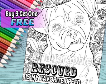 Rescued is my Favorite Breed - Adult Coloring Book Page - Printable Instant Download