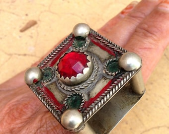 Old Berber High Enamel with Red Glass Square Ring, US Size 10 1/2