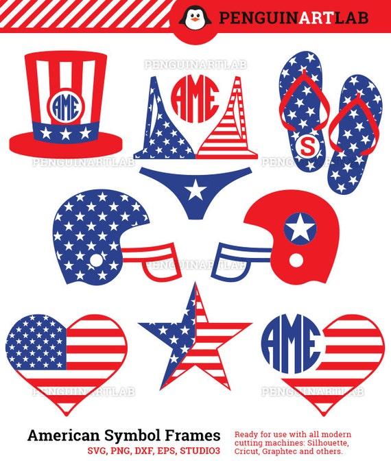 American Symbol Monogram Frame SVG Cut Files for Vinyl Cutter - USA ...