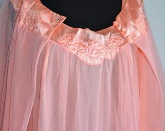 1960s Gossard Artemis Pink Peignoir, Baby Doll Nightgown and Coat Set, Baby Doll Nightgown, 1960s, Peignoir, 60s Lingerie, 60s, 60s Peignoir