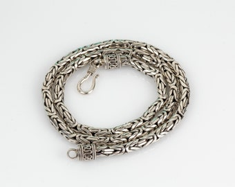 """Byzantine Sterling Chain Necklace 20"""" // 925 Sterling Silver // Heavy 64.5 Grams!"""