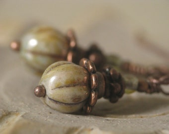 Vegetable Garden - Olive Green Glass Bead Earrings in Antiqued Copper
