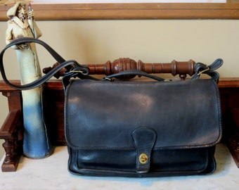 Dads Grads Sale Coach Metropolitan Black Leather Briefcase With Brass Hardware- Made At The Factory In New York City- U.S.A.