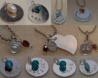 Hand-Stamped Metal Pendant:  great for necklaces, bridesmaids gifts, keychains, and so much more!