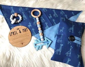 Nappy wallet & change mat set; diaper clutch, baby travel bag- baby boy giraffes (in stock)