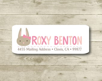Girl Bunny, Pink Bow, Return Address Label, Personalized, MATTE, Easter, Holiday