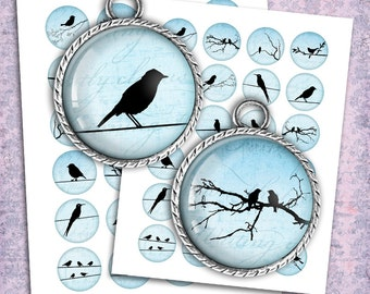 Blue Bird Silhouettes 12mm, 14mm, 16mm Bottle cap Images, Cabochon images Printable Digital Collage Sheet