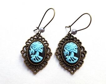 Blue Zombie Earrings, Filigree Earrings, Skull Earrings, Lolita Earrings, Skeleton Cameo Earrings, Bronze with Pearl