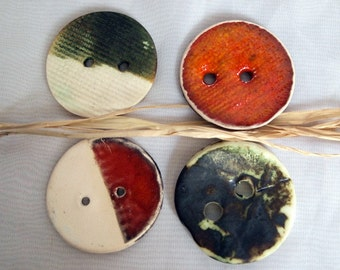 Handmade ceramic buttons,Large Round buttons,fasion boho,set of 4