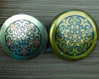 Candy Boxes with Lid - Yellow Metal boxes - Set of two Boxes Vintage Metal Boxes - Candy metal box - Tin boxes container - Tahan halva Boxes