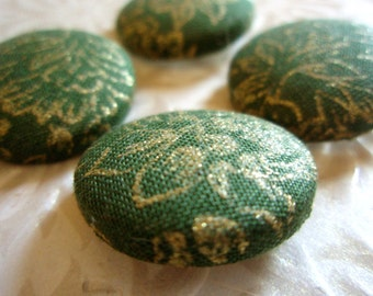 Buttons - Limited Edition - Green and Gold Flower Custom Fabric-Covered Buttons - Fabric Buttons - Covered Buttons - You Choose the Size