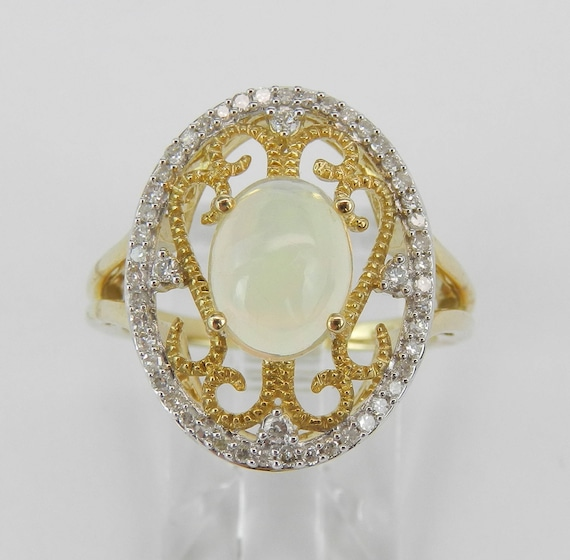 Yellow Gold Diamond and Opal Halo Filigree Cocktail Ring Size 7 October Gem