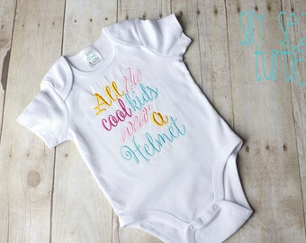 All the cool kids wear a helmet, Plagiocephaly, Cranial Helmet awareness, embroidered bodysuit