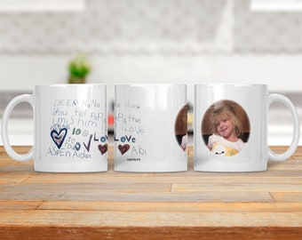 Childs Artwork Mug - Childs Handwriting Coffee Mug - Handwriting Gift - Signature Coffee Mug - Photo Coffee Cup - Personalized Coffee Cup