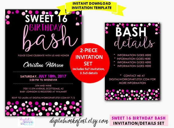 Sweet 16 birthday party invitation template diy editable sweet 16 birthday party invitation template diy editable sweet 16 birthday 16th birthday digital download details card invite polka dots filmwisefo Choice Image