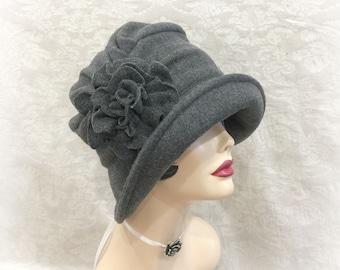 Womens Fleece Hat - Downton Abbey Hat - Formal Fleece Hats - Winter Hats - Warm Fleece Hat - Womens Hats - Flapper Cloche - Handmade in USA