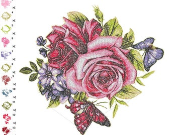 "Embroidery design ""butterflies on flowers"""