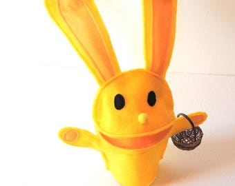 SALE Bunny Hand Puppet Yellow Bunny Rabbit Kids Toy Eco Friendly Felt EasterHoliday Gift Childs Toy Kid Gift Geeky Easter Rabbit